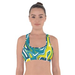 Green And Yellow Vivid Marble Pattern Cross Back Sports Bra by goljakoff