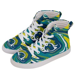 Green And Yellow Vivid Marble Pattern Women s Hi Top Skate Sneakers by goljakoff