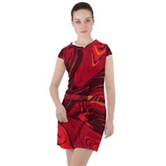 Red Vivid Marble Pattern Drawstring Hooded Dress by goljakoff