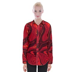 Red Vivid Marble Pattern Womens Long Sleeve Shirt