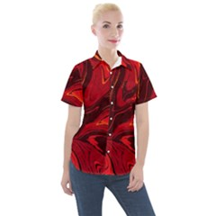 Red Vivid Marble Pattern Women s Short Sleeve Pocket Shirt