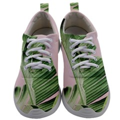 Green Banana Leaves On Pink Ink Mens Athletic Shoes by goljakoff