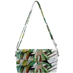 Watercolor Tropical Leaves Removable Strap Clutch Bag