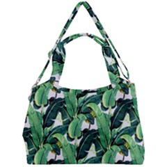 Green Banana Leaves Double Compartment Shoulder Bag by goljakoff
