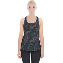 Black Topographyc Map Piece Up Tank Top