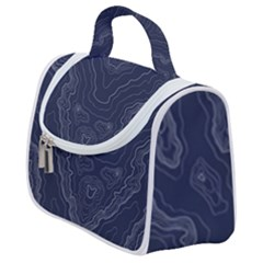 Navy Topography Map Satchel Handbag