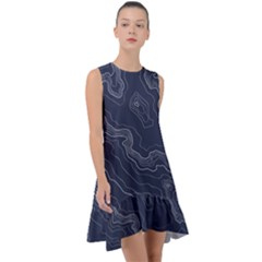 Blue Topography Map Frill Swing Dress by goljakoff