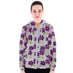 Purple Flower Women s Zipper Hoodie