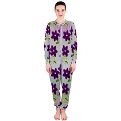 Purple Flower Onepiece Jumpsuit (ladies)