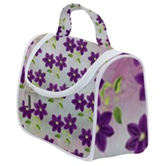 Purple Flower Satchel Handbag