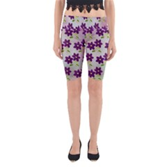 Purple Flower Yoga Cropped Leggings