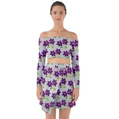Purple Flower Off Shoulder Top With Skirt Set