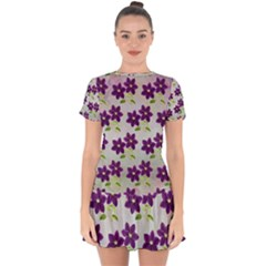 Purple Flower Drop Hem Mini Chiffon Dress