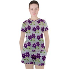 Purple Flower Women s Tee And Shorts Set
