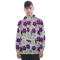 Purple Flower Men s Front Pocket Pullover Windbreaker by HermanTelo