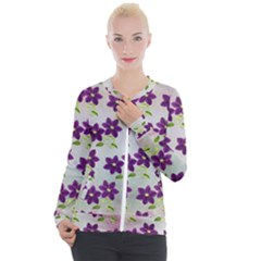 Purple Flower Casual Zip Up Jacket