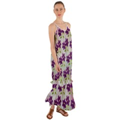 Purple Flower Cami Maxi Ruffle Chiffon Dress
