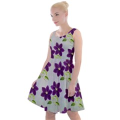 Purple Flower Knee Length Skater Dress