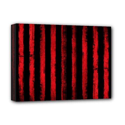 Red Grunge Stripes Deluxe Canvas 16  X 12  (stretched)  by goljakoff