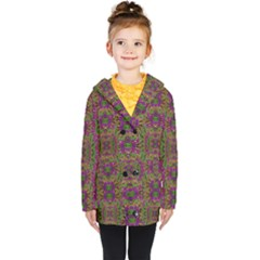 Peacock Lace In The Nature Kids  Double Breasted Button Coat by pepitasart