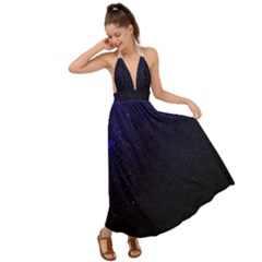 Blue Space Backless Maxi Beach Dress by goljakoff