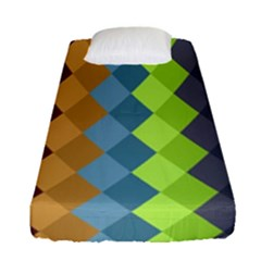 Retro Rhombs Fitted Sheet (single Size) by goljakoff