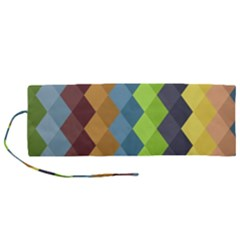Retro Rhombs Roll Up Canvas Pencil Holder (m) by goljakoff
