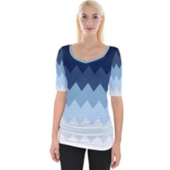 Blue Chevrons Wide Neckline Tee by goljakoff