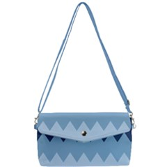 Blue Chevrons Removable Strap Clutch Bag