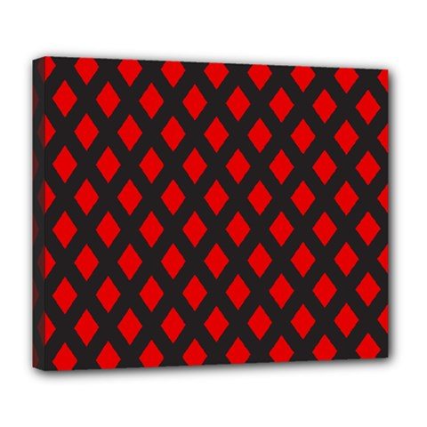 Red Rhombs Pattern Deluxe Canvas 24  X 20  (stretched) by goljakoff