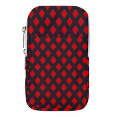 Red Rhombs Pattern Waist Pouch (large) by goljakoff