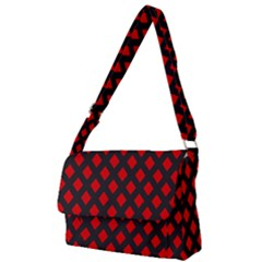 Red Rhombs Pattern Full Print Messenger Bag (l)