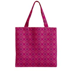 Background Texture Pattern Mandala Zipper Grocery Tote Bag