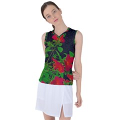 Dark Pop Art Floral Poster Women s Sleeveless Mesh Sports Top by dflcprintsclothing