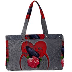 Wonderful Crow On A Heart Canvas Work Bag