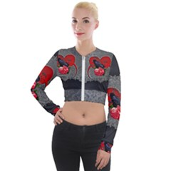 Wonderful Crow On A Heart Long Sleeve Cropped Velvet Jacket by FantasyWorld7