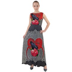 Wonderful Crow On A Heart Chiffon Mesh Boho Maxi Dress