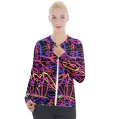 Abstrait Neon Colors Casual Zip Up Jacket by kcreatif