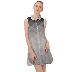 Shadows Of Gray Rhombs Sleeveless Shirt Dress by goljakoff