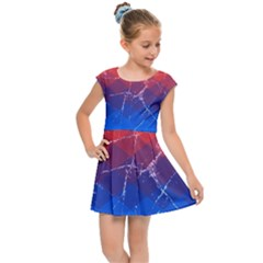 Grunge Rainbow Rhombs Kids  Cap Sleeve Dress