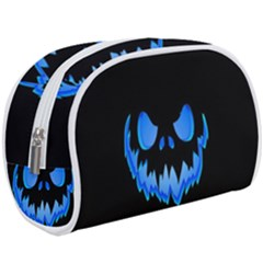 Blue Pumpkin Face Makeup Case (large) by goljakoff