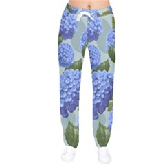 Hydrangea  Women Velvet Drawstring Pants by Sobalvarro