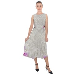 Orchidées Fleurs Abstrait Midi Tie-back Chiffon Dress