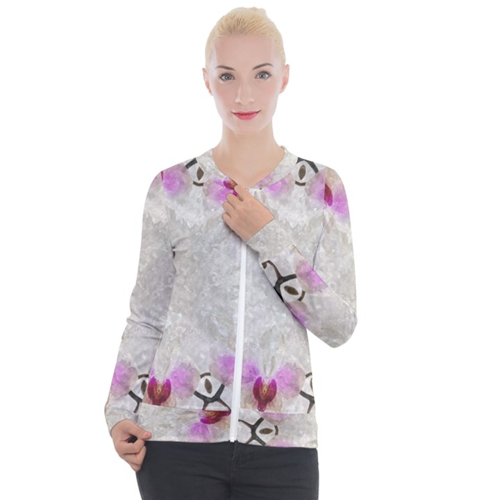 Orchidées Fleurs Abstrait Casual Zip Up Jacket