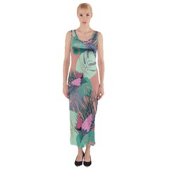 Leaves Fitted Maxi Dress by Sobalvarro