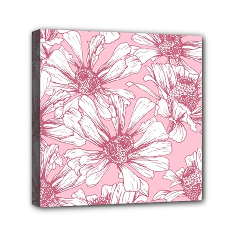 Pink Flowers Mini Canvas 6  X 6  (stretched) by Sobalvarro