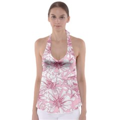 Pink Flowers Babydoll Tankini Top by Sobalvarro
