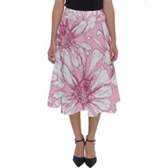 Pink Flowers Perfect Length Midi Skirt by Sobalvarro