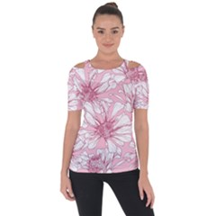 Pink Flowers Shoulder Cut Out Short Sleeve Top by Sobalvarro