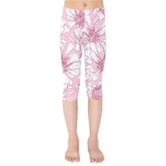 Pink Flowers Kids  Capri Leggings  by Sobalvarro